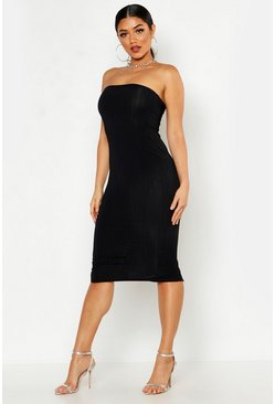 Womens Black Ribbed Bandeau Midi Dress