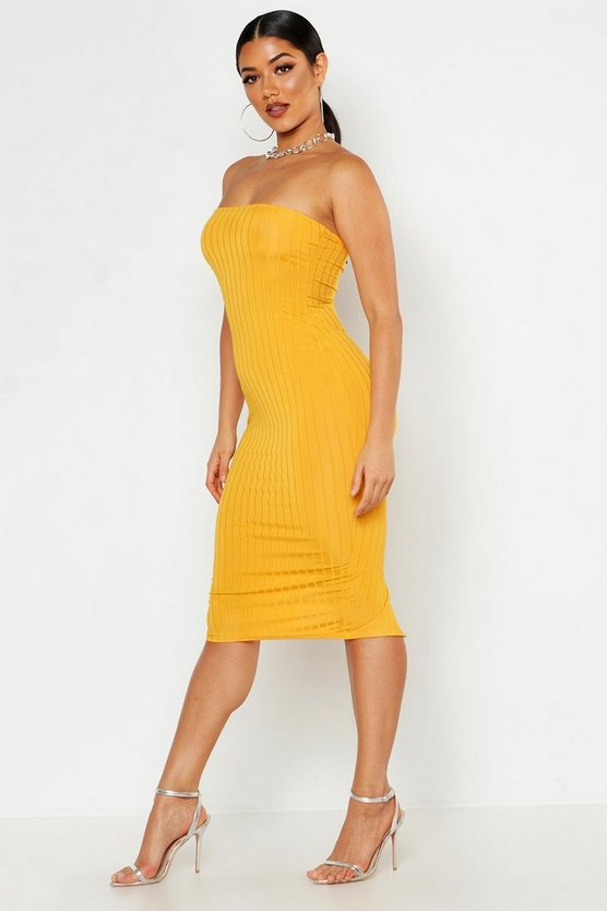 Womens Mustard Ribbed Bandeau Midi Dress