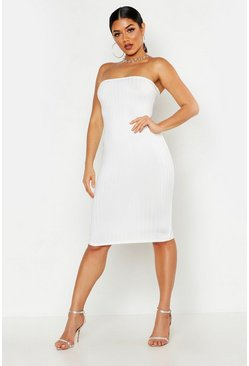 Womens White Ribbed Bandeau Midi Dress