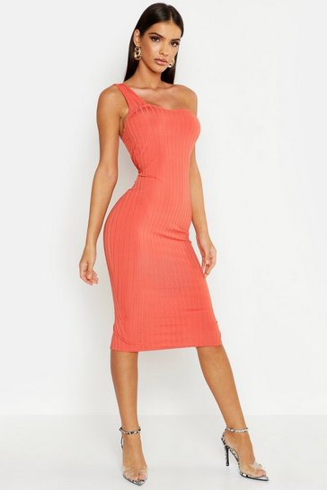 Womens Coral Ribbed One Shoulder Midi Dress