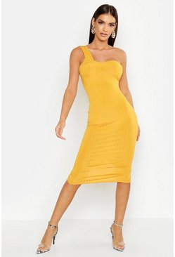 Womens Mustard Ribbed One Shoulder Midi Dress