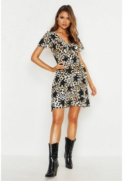 Womens Natural Satin Star Leopard Wrap Tea Dress