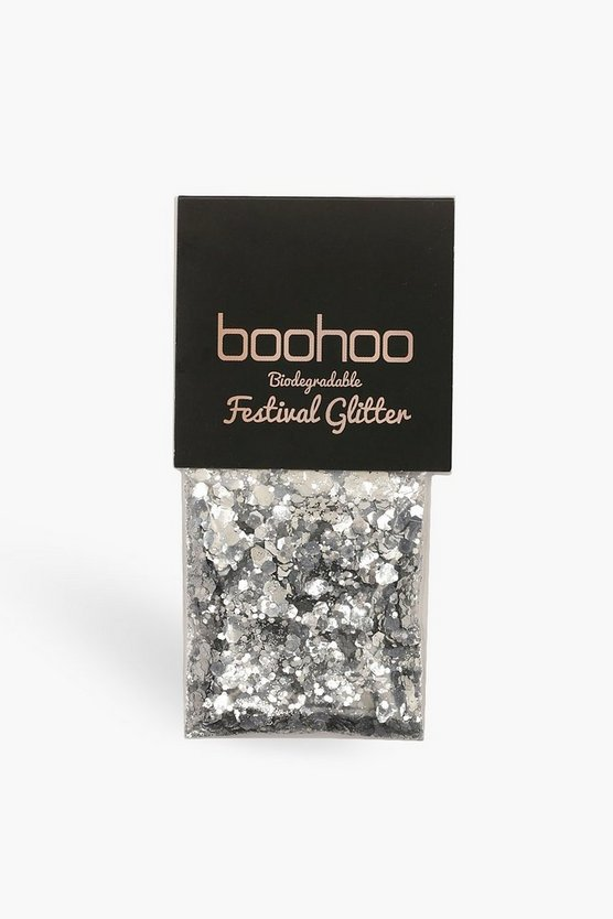 Womens Silver Boohoo Biodegradeable Glitter Bag