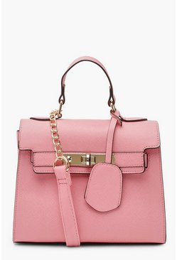 Womens Baby pink Structured Mini Lock Cross Body Bag