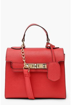 Womens Red Structured Mini Lock Cross Body Bag