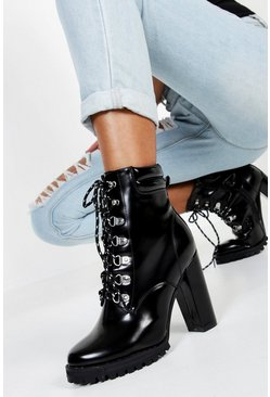 Black Lace up Heeled Hiker Boots