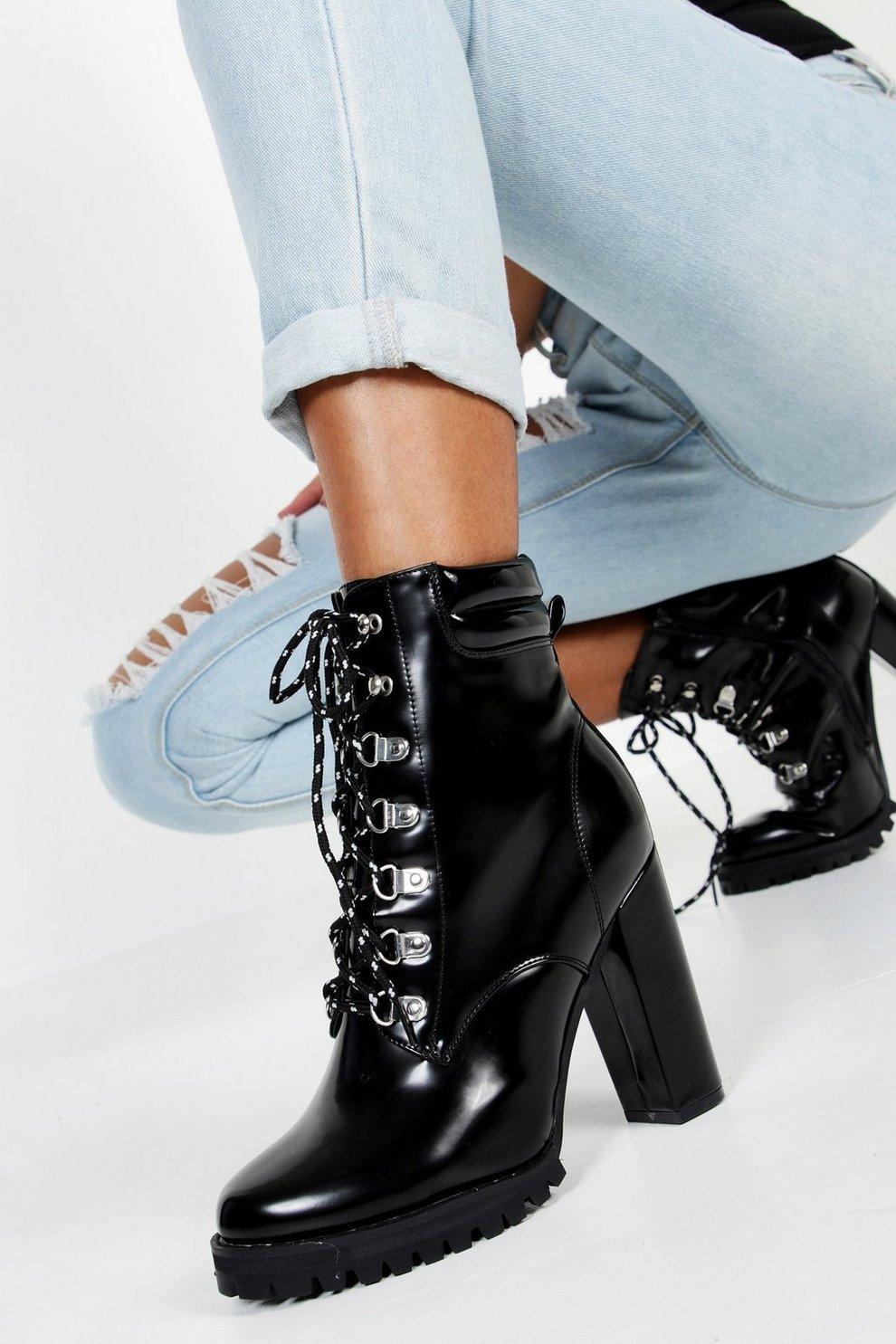 a45c1bebf773b Lace up Heeled Hiker Boots | Boohoo