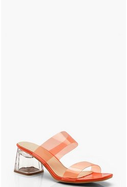 Womens Orange Neon Clear Strap Mules