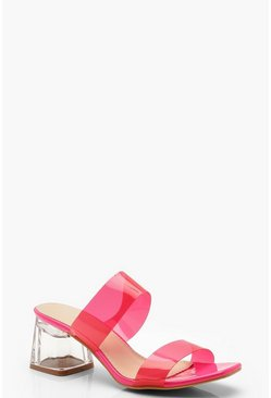 Womens Pink Neon Clear Strap Mules