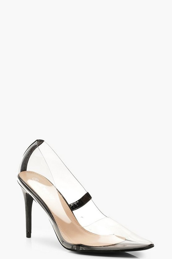 Womens Black Clear Pointed Toe Courts