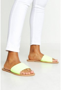 Womens Lime Basic Neon Sliders