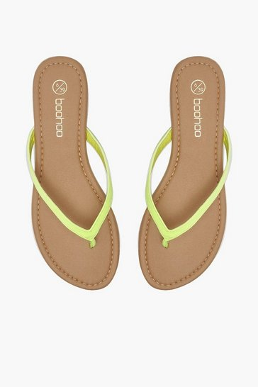 Womens Lime Basic Neon Flip Flops