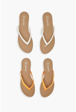 Womens Orange Basic 2 Pack Flip Flops