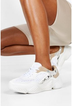Womens White Snake Panel Chunky Sole Sneakers