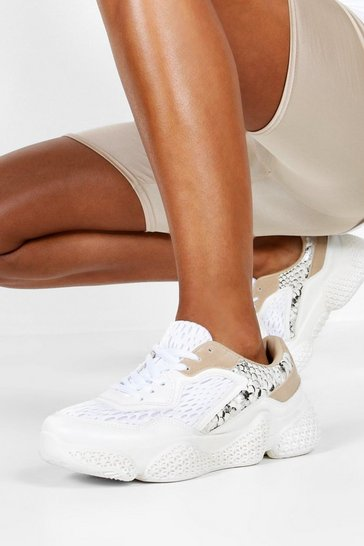 Womens White Snake Panel Chunky Sole Trainers