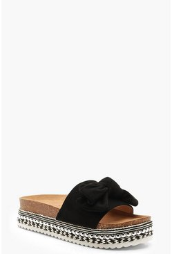 Womens Black Bow Detail Cleated Flatforms
