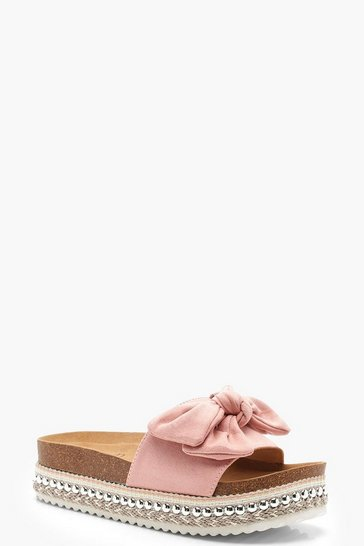 Womens Blush Bow Detail Cleated Flatforms