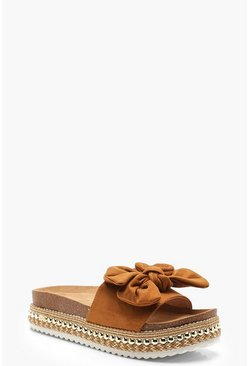 Womens Tan Bow Detail Cleated Flatforms