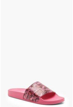 Womens Pink Snake Print Sliders