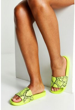 Womens Lime Neon Snake Pool Sliders
