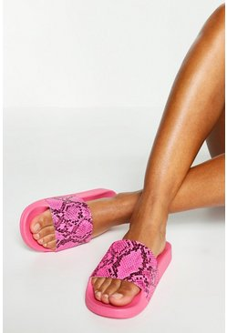 Womens Pink Neon Snake Pool Sliders