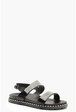 Womens Black Diamante Strap Footbed Sandals