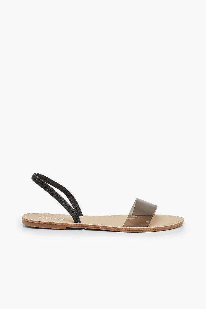 Clear Sling Back Flat Sandals | boohoo Australia
