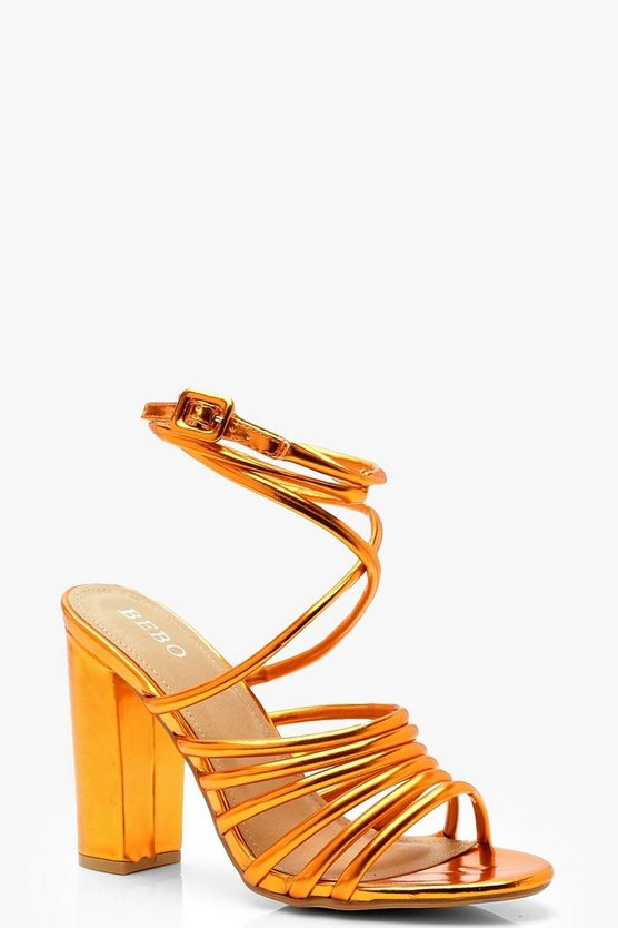 Womens Orange Multi Strap Block Heel Sandals