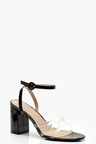 Womens Black Clear Strap Block Heels