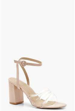 Womens Nude Clear Strap Block Heels