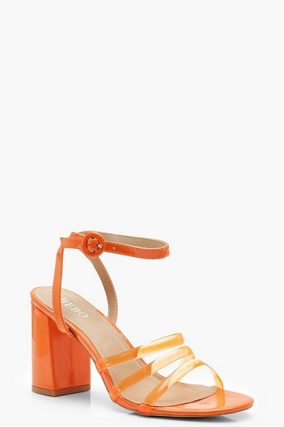 Womens Orange Clear Strap Block Heels