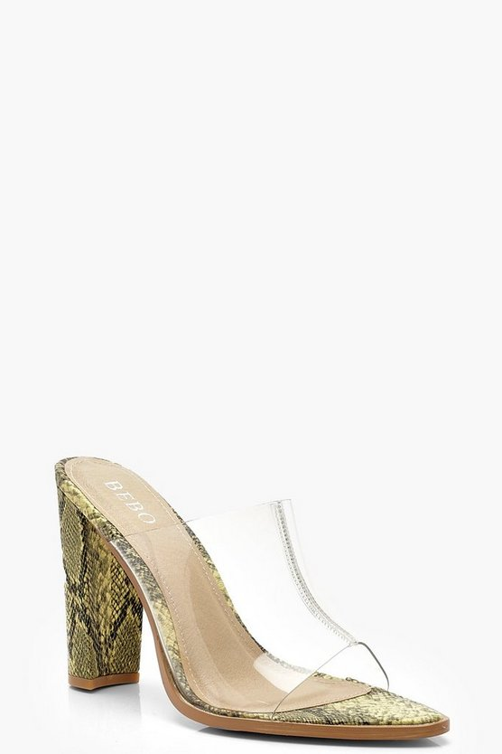Womens Lime Clear Peeptoe Mules
