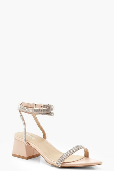 Womens Nude Embellished Pointed Toe Low Block Heels