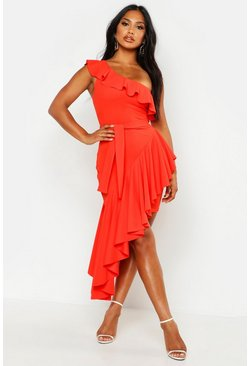 Womens Orange One Shoulder Asymmetric Frill Hem Midi Dress