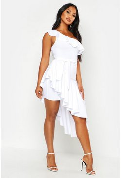 Womens White One Shoulder Asymmetric Frill Hem Midi Dress