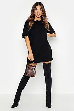 Leopard Print Contrast Trim T-Shirt Dress