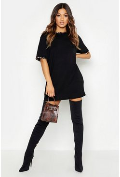 Womens Black Leopard Print Contrast Trim T-Shirt Dress