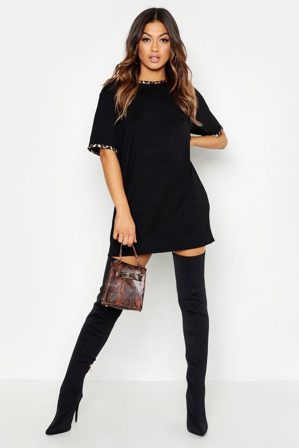 62974b03c5f1e0 Womens Black Leopard Print Contrast Trim T-Shirt Dress