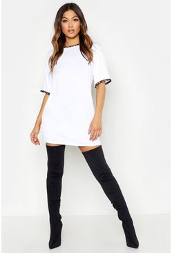 Womens White Leopard Print Contrast Trim T-Shirt Dress