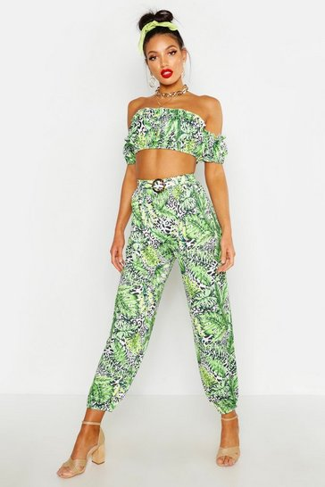 Womens Ivory Belted Leopard Palm Harem Trousers