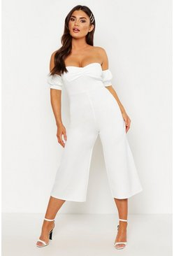 Ivory Sweetheart Off the Shoulder Jumpsuit