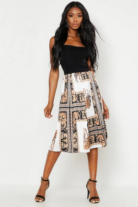 Womens Black Woven Pleated Chain Print Midi Skirt