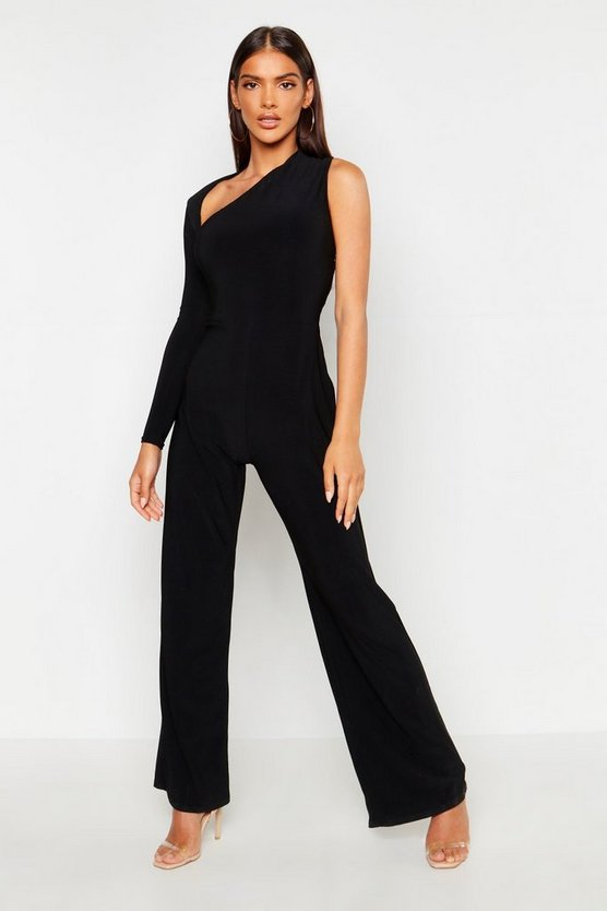Womens Black One Shoulder Jumpsuit