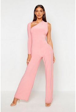 Womens Dusky pink One Shoulder Jumpsuit