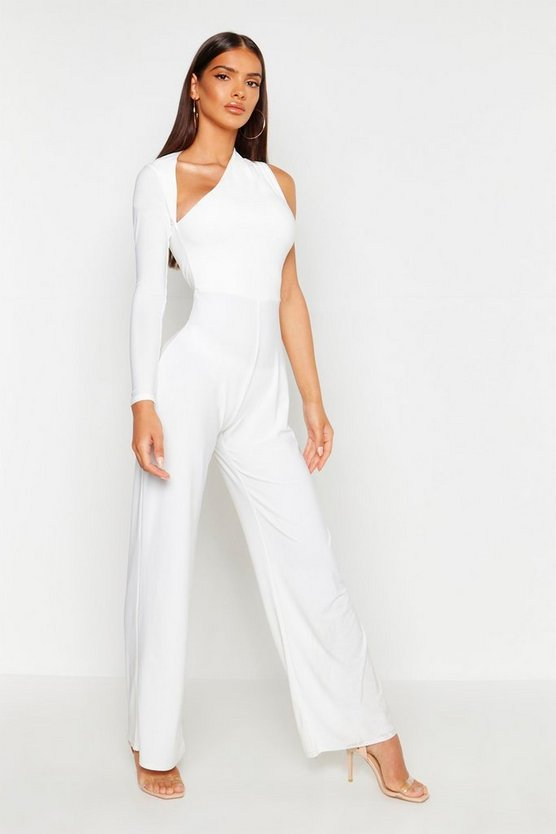Ivory One Shoulder Jumpsuit