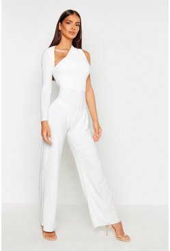 Womens Ivory One Shoulder Jumpsuit