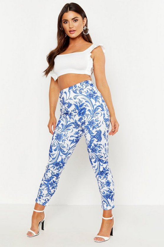 Womens Blue Porcelain High Waist Skinny Trousers