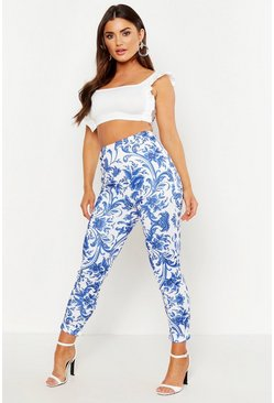 Womens Blue Porcelain High Waist Skinny Pants