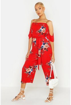 Womens Red Cold Shoulder Floral Jumpsuit