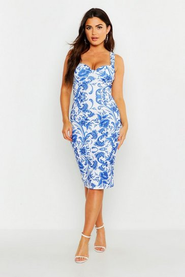 Womens Blue Bust Detail Porcelain Print Midi Dress
